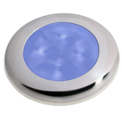 Hella Marine Slim Line LED 'Enhanced Brightness' Round Courtesy Lamp - Blue LED - Stainless Steel Bezel - 12V [980502221]