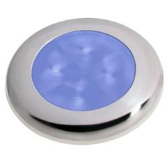 Hella Marine Slim Line LED 'Enhanced Brightness' Round Courtesy Lamp - Blue LED - Stainless Steel Bezel - 12V [980502221]
