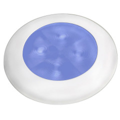 Hella Marine Slim Line LED 'Enhanced Brightness' Round Courtesy Lamp - Blue LED - White Plastic Bezel - 12V [980502241]