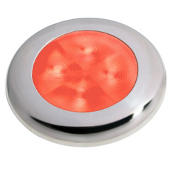 Hella Marine Slim Line LED 'Enhanced Brightness' Round Courtesy Lamp - Red LED - Stainless Steel Bezel - 12V [980507221]