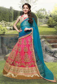 Pink color Net Fabric Kids Wear Lehenga Choli
