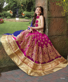 Purple color Net Fabric Kids Wear Lehenga Choli