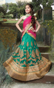 Green color Net Fabric Kids Wear Lehenga Choli