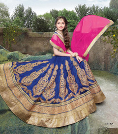 Royal Blue color Net Fabric Kids Wear Lehenga Choli