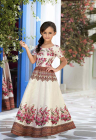 Cream color Premium Heritage Silk Fabric Kids Wear Lehenga Choli
