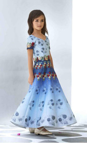 Blue color Premium Heritage Silk Fabric Kids Wear Lehenga Choli