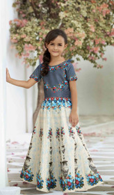 Grey and Cream color Premium Heritage Silk Fabric Kids Wear Lehenga Choli
