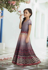 Grey color Premium Heritage Silk Fabric Kids Wear Lehenga Choli