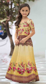 Mustard color Premium Heritage Silk Fabric Kids Wear Lehenga Choli