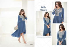 Soft Blue color Full Sleeve Semi Georgette Fabric Asymmetrical Hemline Kurti