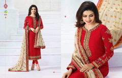 Red color Full Sleeve Straight Fit Georgette Fabric Suit