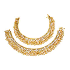 Gold Plated Heavy Pearl work Anklets