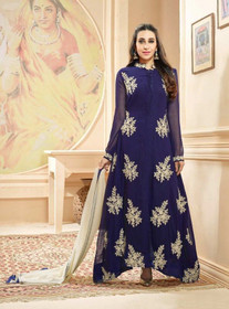 Awesome Blue Georgette Salwar Kameez001