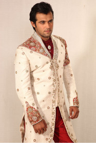 Amazing Off White Brocade Designer Sherwani1044