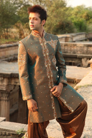 Amazing Green Art Brocade Designer Sherwani1045
