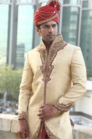 Amazing Golden Zari Brocade Designer Sherwani1046