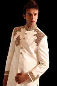 Amazing Off White Silk Designer Sherwani1047