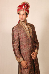 Amazing Brown Brocade Designer Sherwani1048