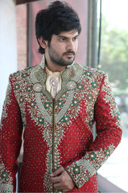 Amazing Red Art Silk Designer Sherwani1049