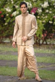 Amazing Golden Khadi Silk Designer Sherwani1051