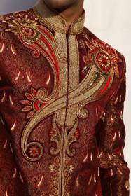 Amazing Maroon Brocade Designer Sherwani1052