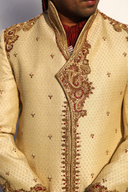 Amazing Golden Brocade Designer Sherwani1053