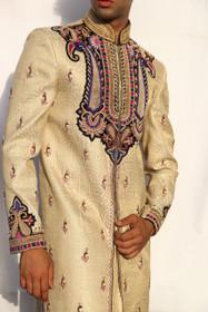 Amazing Beige Golden Dhupion Silk Designer Sherwani1054
