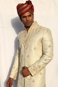 Amazing Cream Lurex Designer Sherwani1055