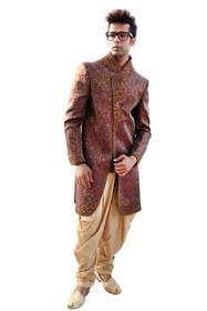 Amazing Red Maroon Kela Brocade Designer Sherwani1056