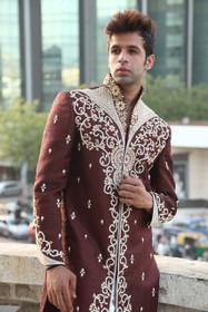 Amazing Chocolate Maroon Premium Silk Tanchoi Designer Sherwani1057