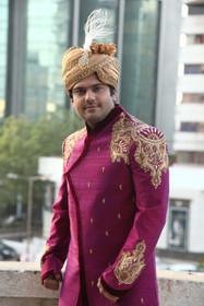 Amazing Pink Magenta Raw Silk Designer Sherwani1143