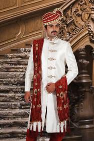 Amazing White Silk Brocade Designer Sherwani1144