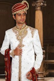 Amazing White Kinkhab Designer Sherwani1145