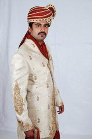 Amazing Cream Golden Zari Brocade Designer Sherwani1146