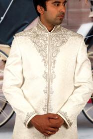 Amazing White Cream Ghiecha Tanchoi Designer Sherwani1148