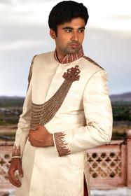 Amazing  Cream Brocade Silk Designer Sherwani1149