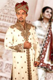 Amazing  Cream Brocade Silk Designer Sherwani1153