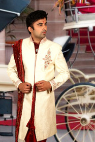 Amazing  Cream Brocade Silk Designer Sherwani1154