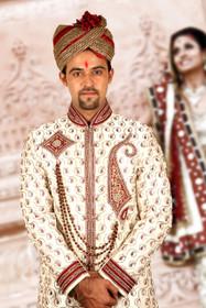 Amazing  Cream Dohra Zari Brocade Designer Sherwani1155