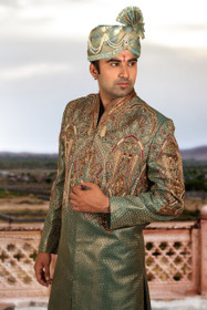 Amazing Emerald Green Brocade Silk Designer Sherwani1156