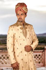 Amazing Golden Brocade Silk Designer Sherwani1159