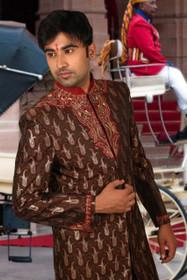 Amazing Moocha Maroon Brocade Silk Designer Sherwani1160