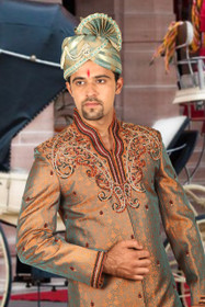 Amazing Brown Brocade Silk Designer Sherwani1161