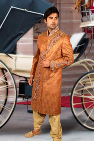Amazing Orange Brocade Silk Designer Sherwani1162