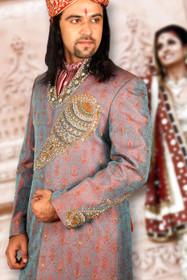 Amazing Peacock Blue Brocade Silk Designer Sherwani1163