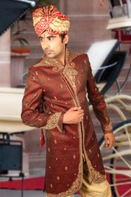 Amazing Maroon Brocade Silk Designer Sherwani1164