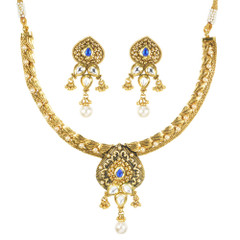 Stunning Gold Plated Kundan Work Necklace Set1923