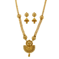 Stunning Gold Plated Goddess Lakshmi Necklace Set1926