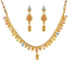 Stunning Gold Plated Multi Stone Necklace Set1928