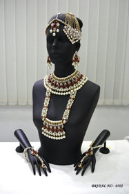 Stunning Heavy Stone & Pearl Work Bridal Necklace Set1939
